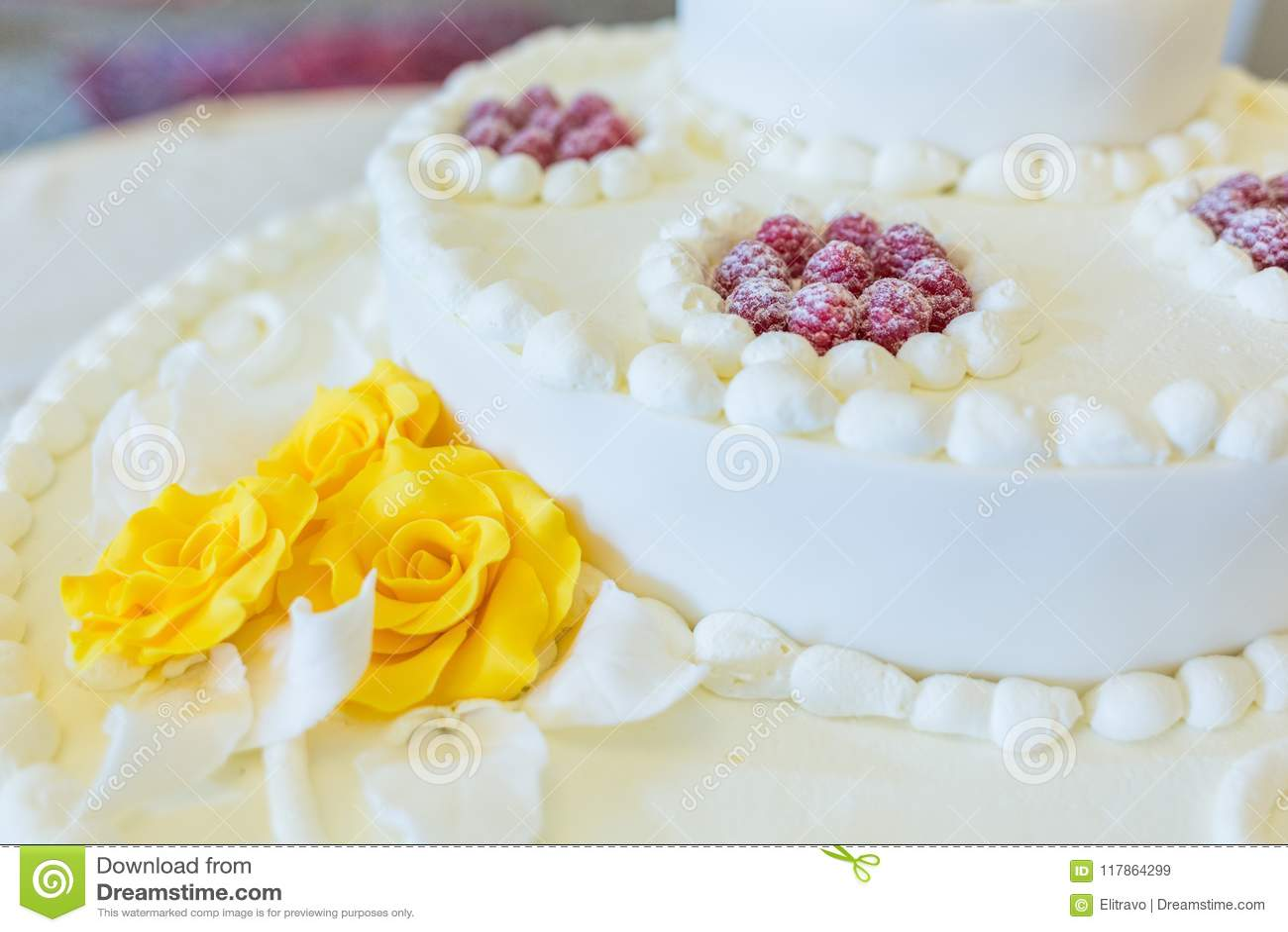 Beautiful White Wedding Cake With Fruits Stock Image - Image of ...