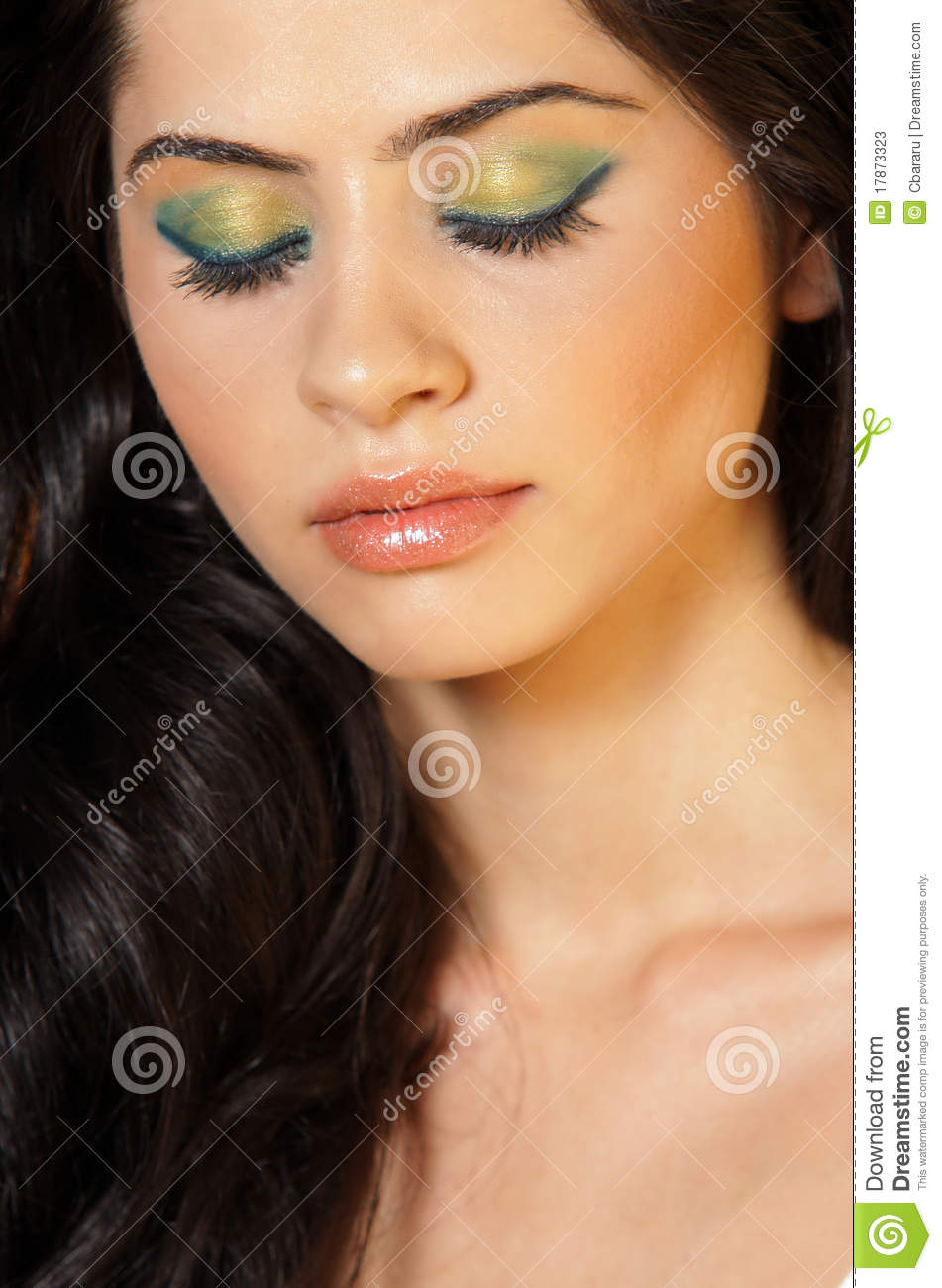 Close Up Of A Beautiful Woman With Eyes Closed Stock ...