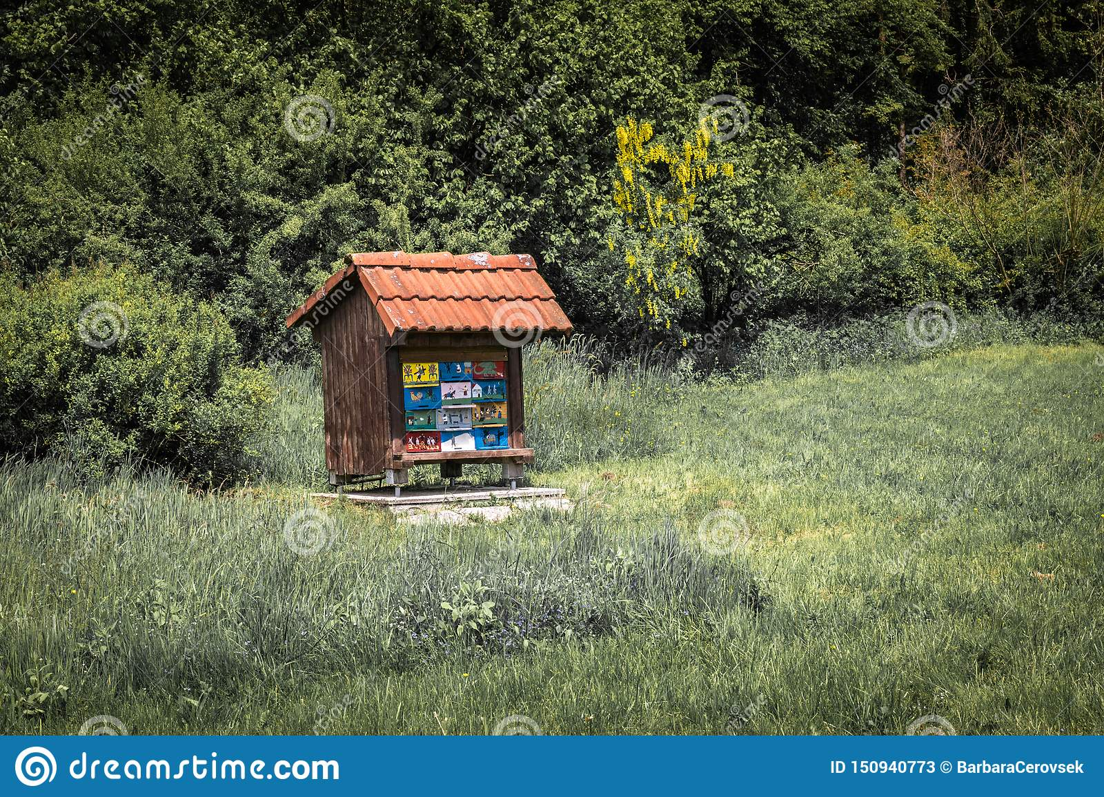 Close up of beautiful wooden bee house apiary in forest, isolated, collecting forest flower honey, cerknica, slovenia