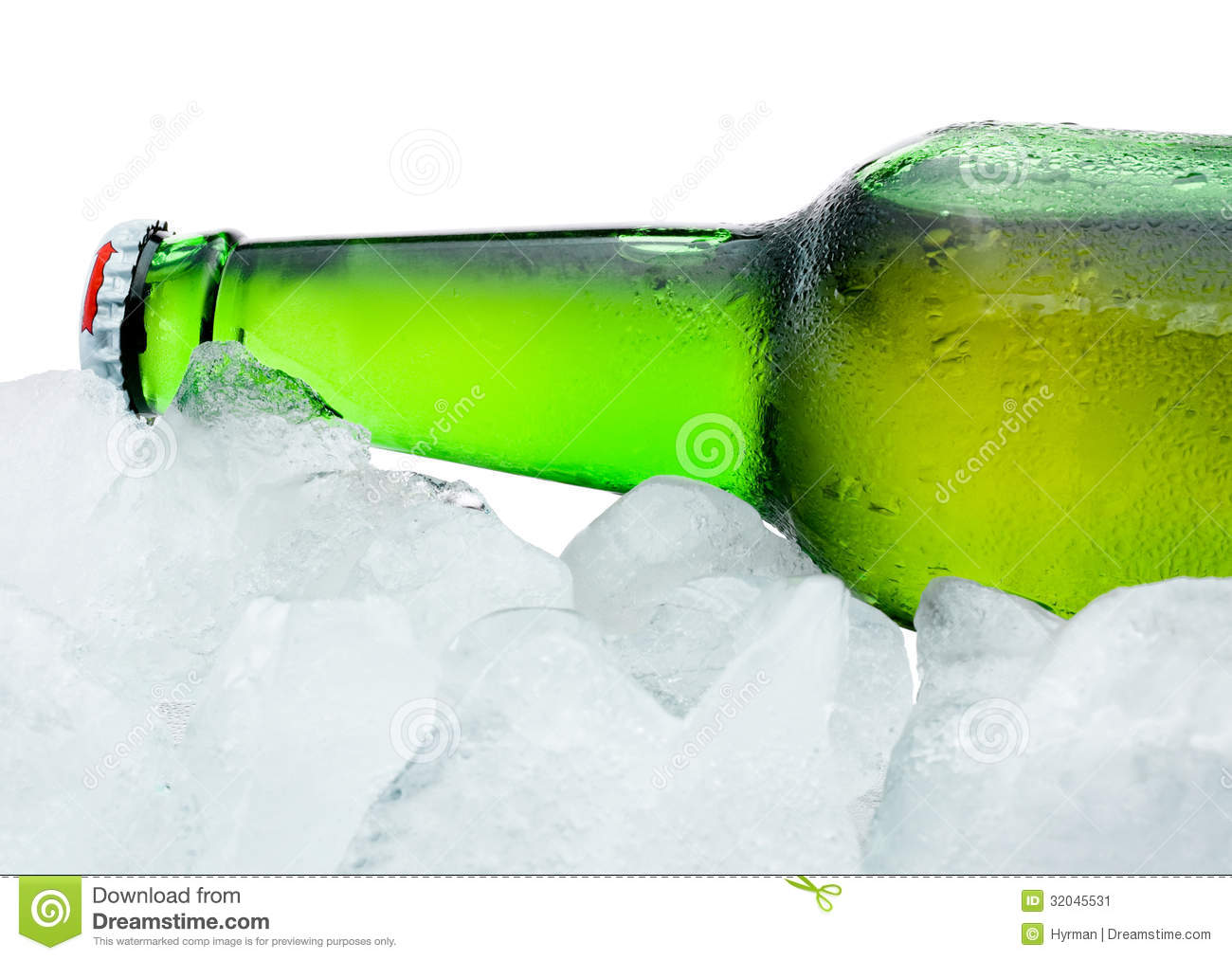 close up beer bottle cool in ice on white background stock photo
