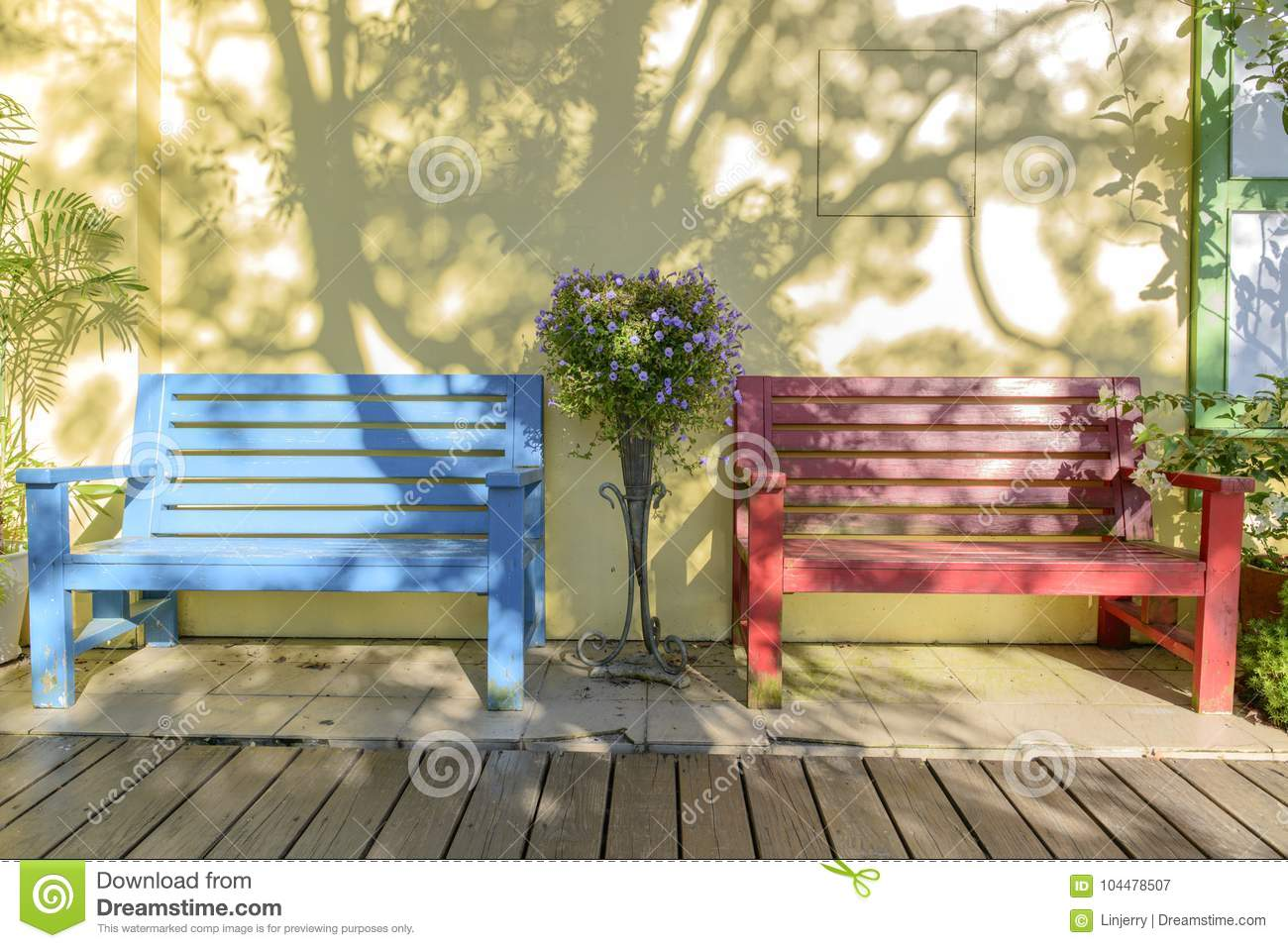 Surprising Vintage Bench And Pansies Flowers Stock Image Image Of Caraccident5 Cool Chair Designs And Ideas Caraccident5Info