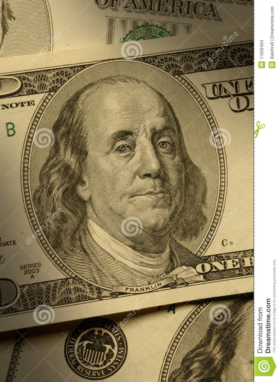 close-up of benjamin franklin on the  100 bill stock images