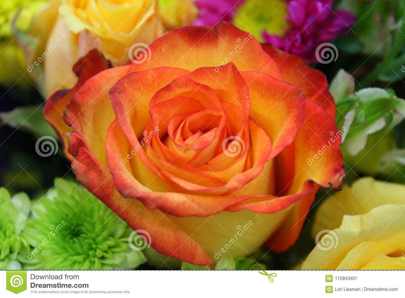 A close up of a bi colored yellow and orange rose in a bouquet of a close up of a bi colored yellow and orange rose in a bouquet of flowers this is a beautiful addition to this bouquet of common flowers izmirmasajfo