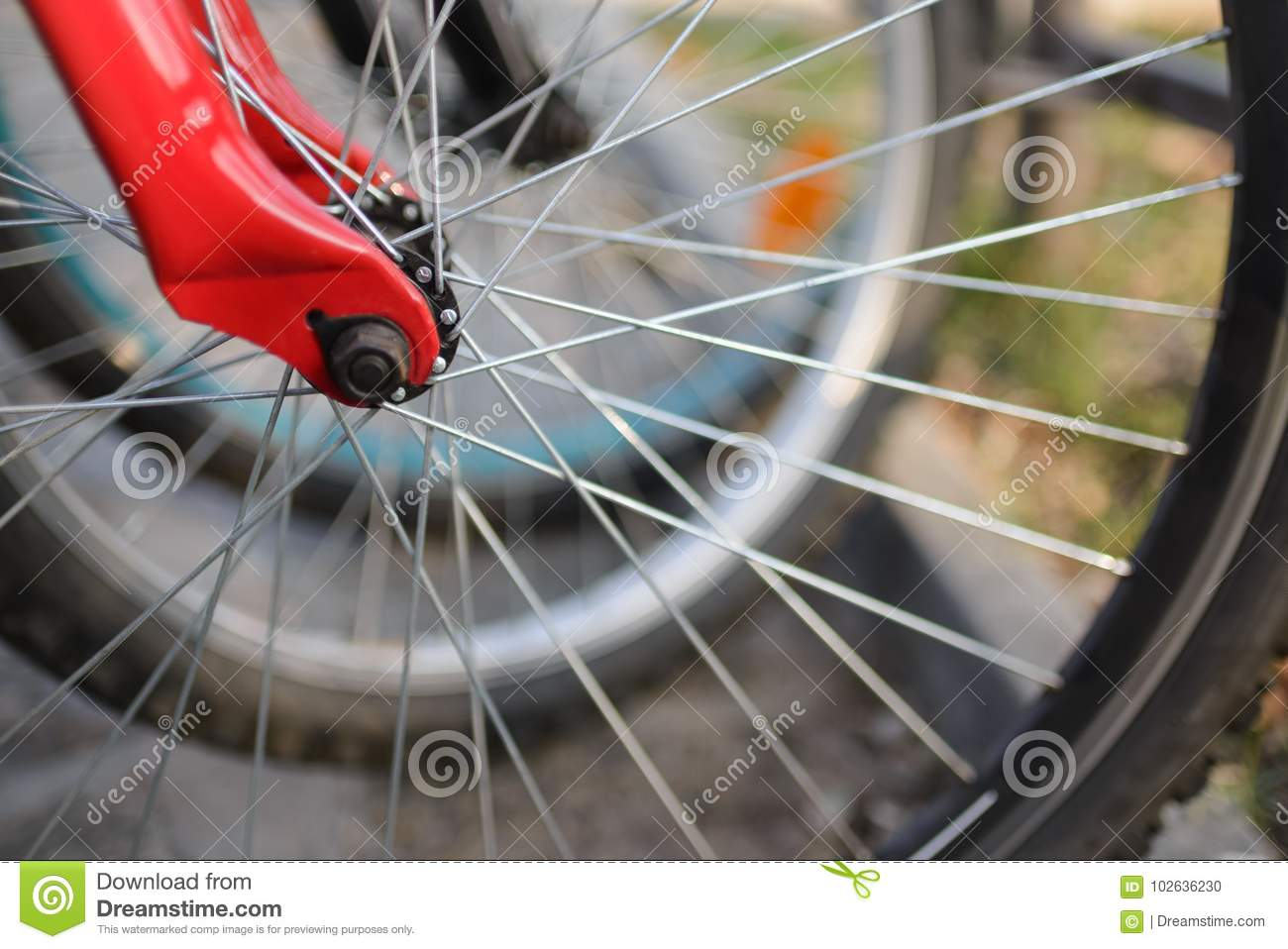 Close up of bicycle wheels