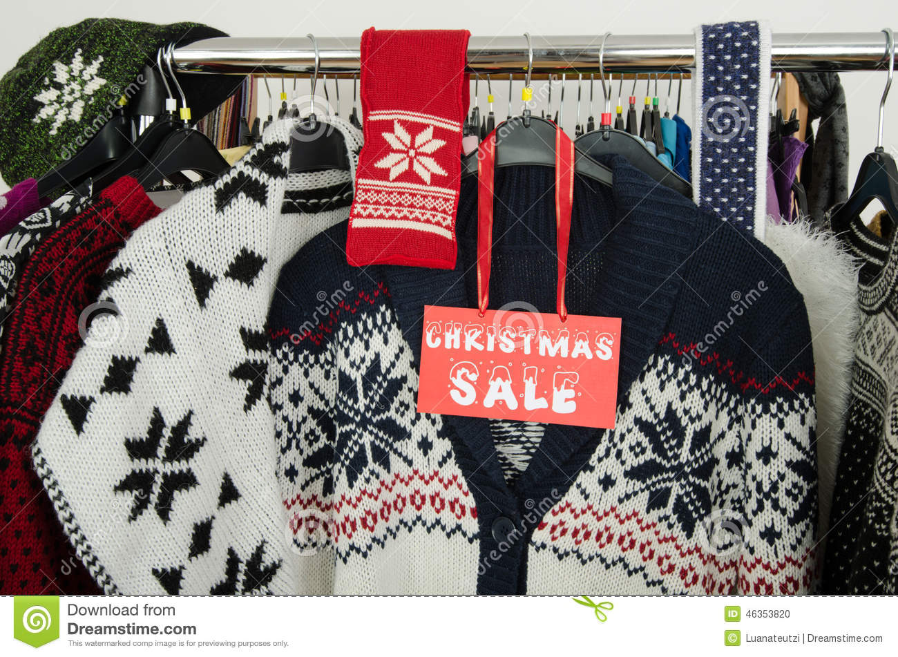 close up on a big christmas sale sign for winter clothes