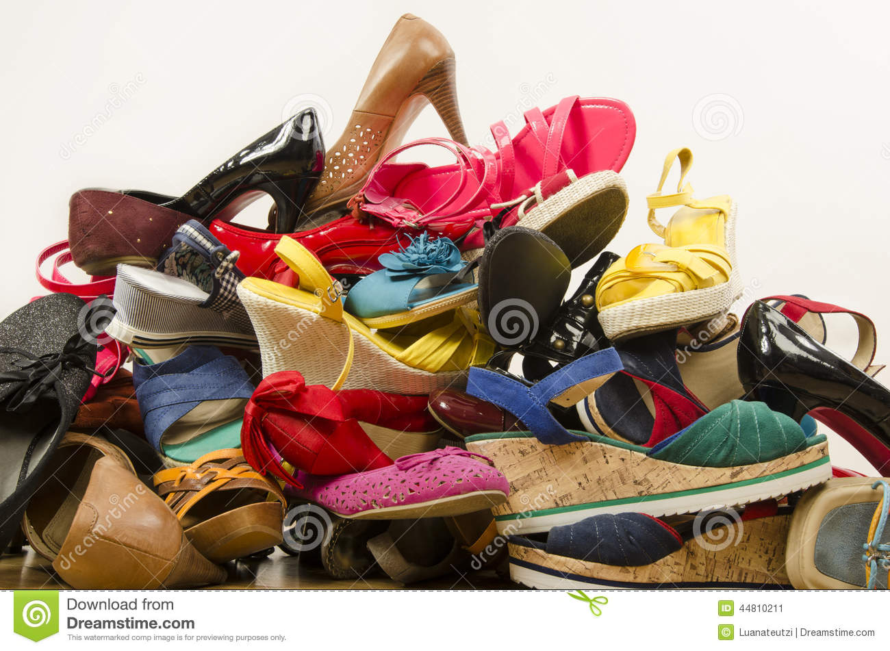 Close Up On Big Pile Of Colorful Woman Shoes Stock Photo