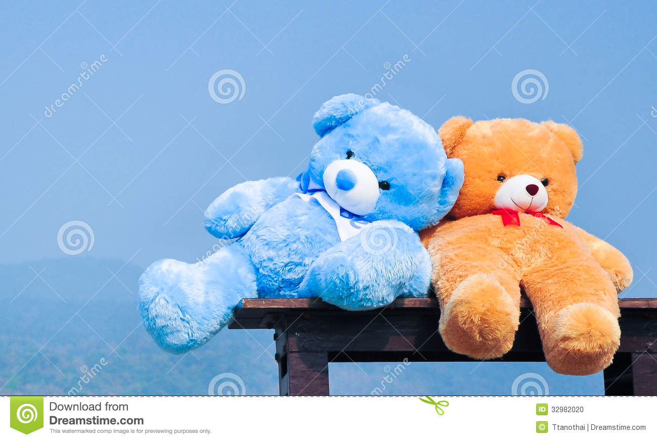 Close up big teddy bears sitting on wood chair stock photo image royalty free stock photo altavistaventures Images