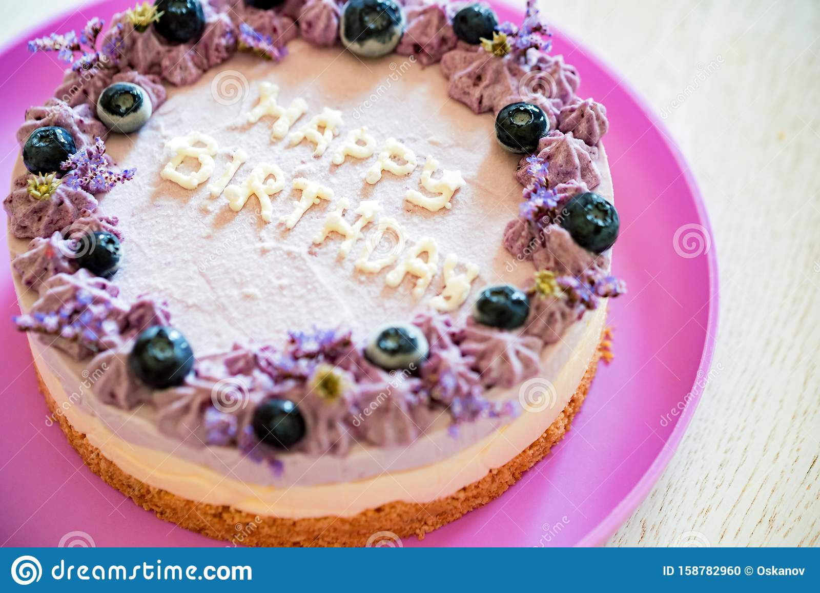 Sensational Close Up Birthday Cake With Cream And Blueberries Stock Photo Birthday Cards Printable Benkemecafe Filternl
