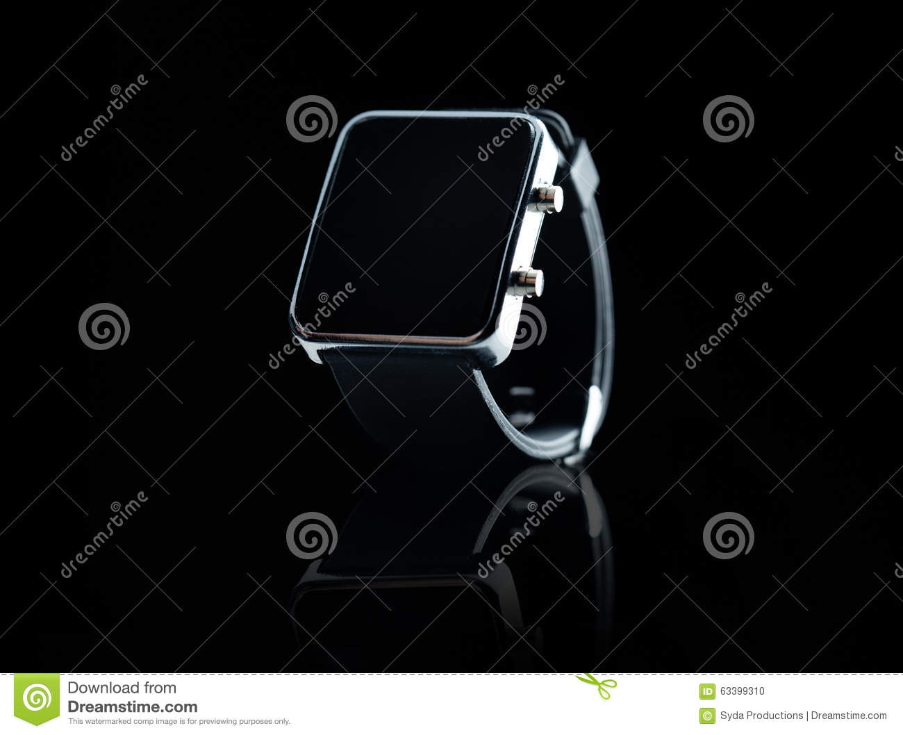 Close Up Of Smart Watch With Black Blank Screen Royalty ...
