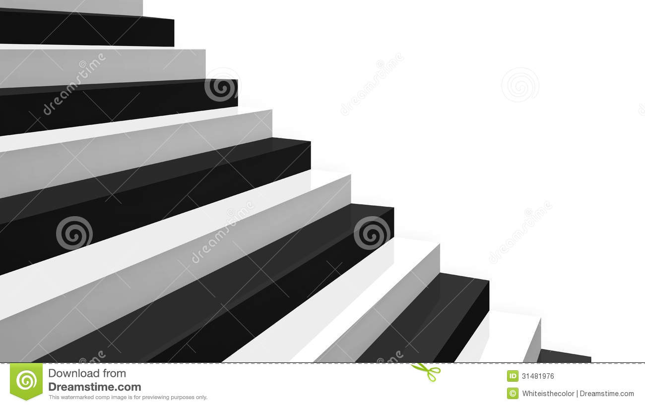 Close up Black And White Glossy Stairs Royalty Free Stock
