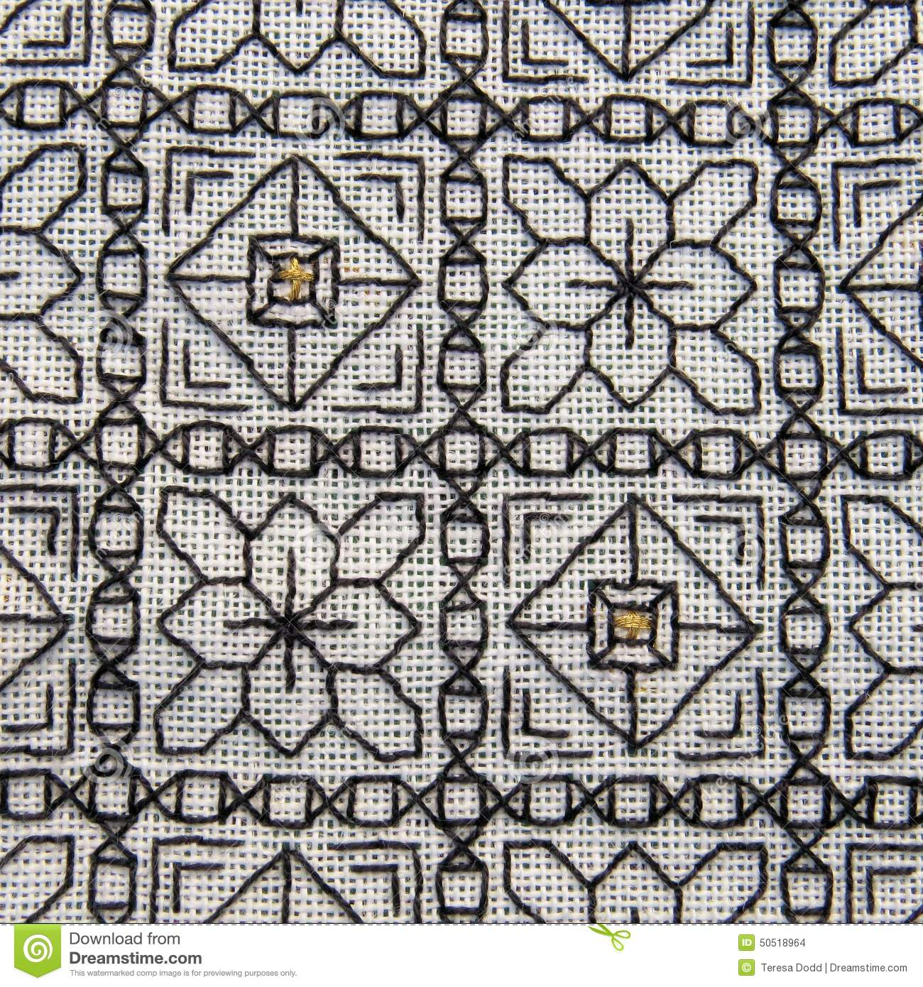 Close up of blackwork embroidery with gold highlights stock photo royalty free stock photo bankloansurffo Gallery