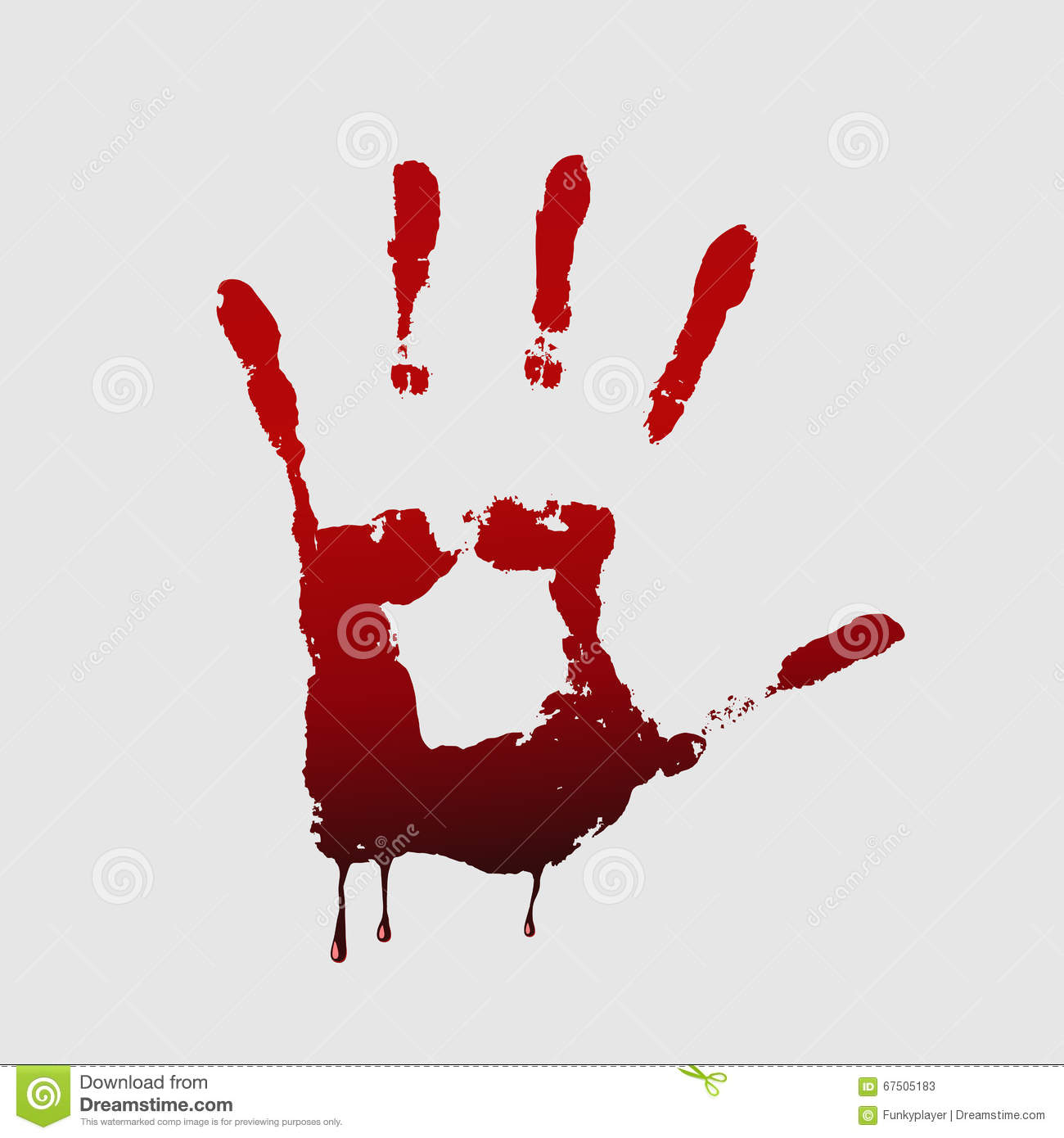 close up of bloody handprint on white background stock