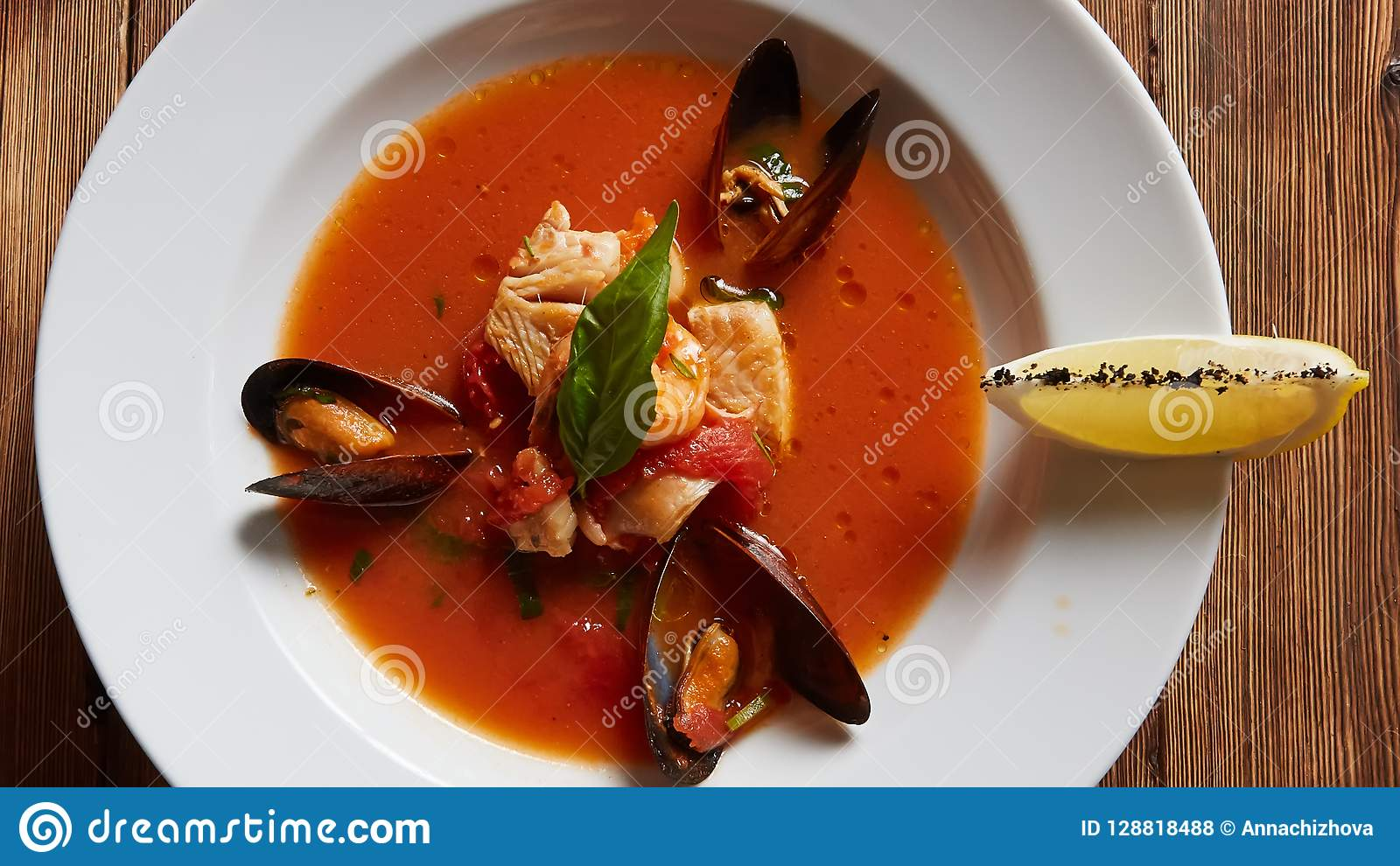 Bowl Of Italian Seafood Soup Stock ...