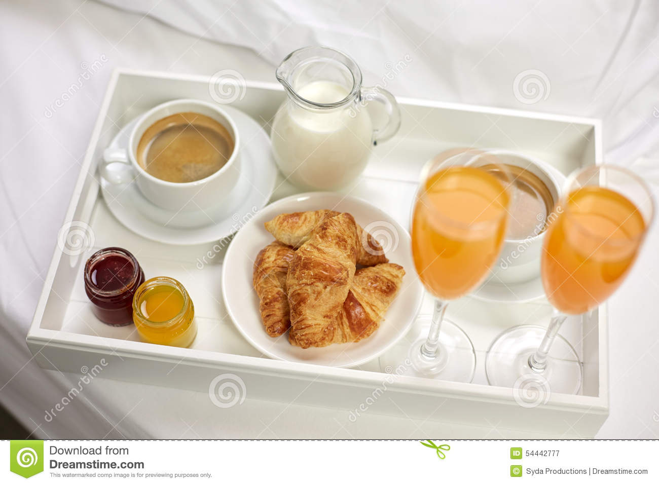 Close Up Of Breakfast On Tray In Bed Stock Photo - Image ...