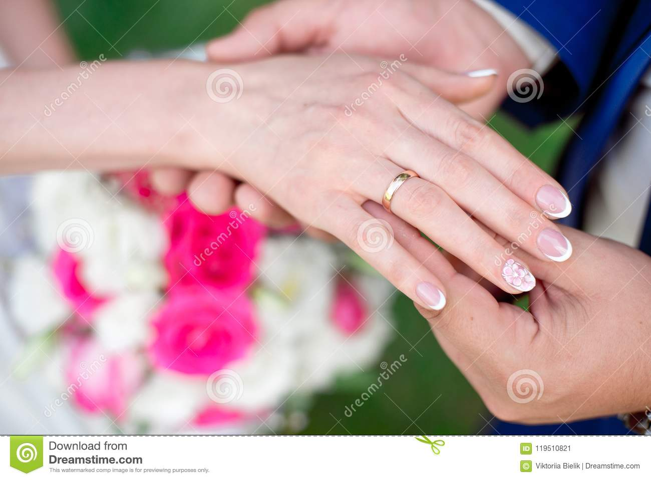Close-up Bride And Groom`s Hands With Wedding Rings Stock Image ...