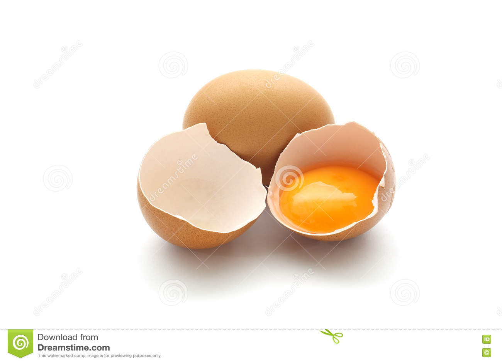 Close Up Broken Egg Isolated On White Background Stock Photo