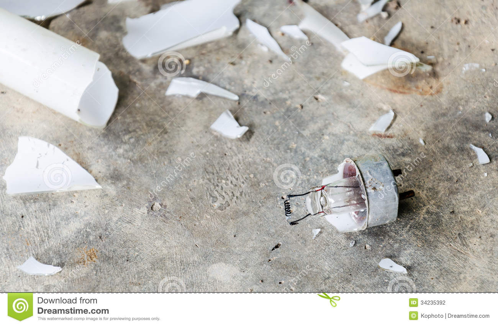 Close Up Of Broken Fluorescent Light Tube Stock