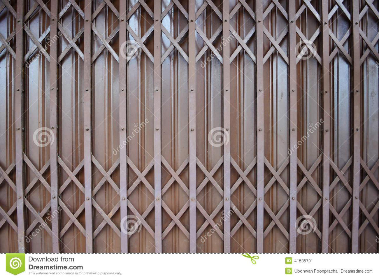 brown close door grate ... & Close Up Brown Metal Grille Sliding Door. Stock Photo - Image ... Pezcame.Com