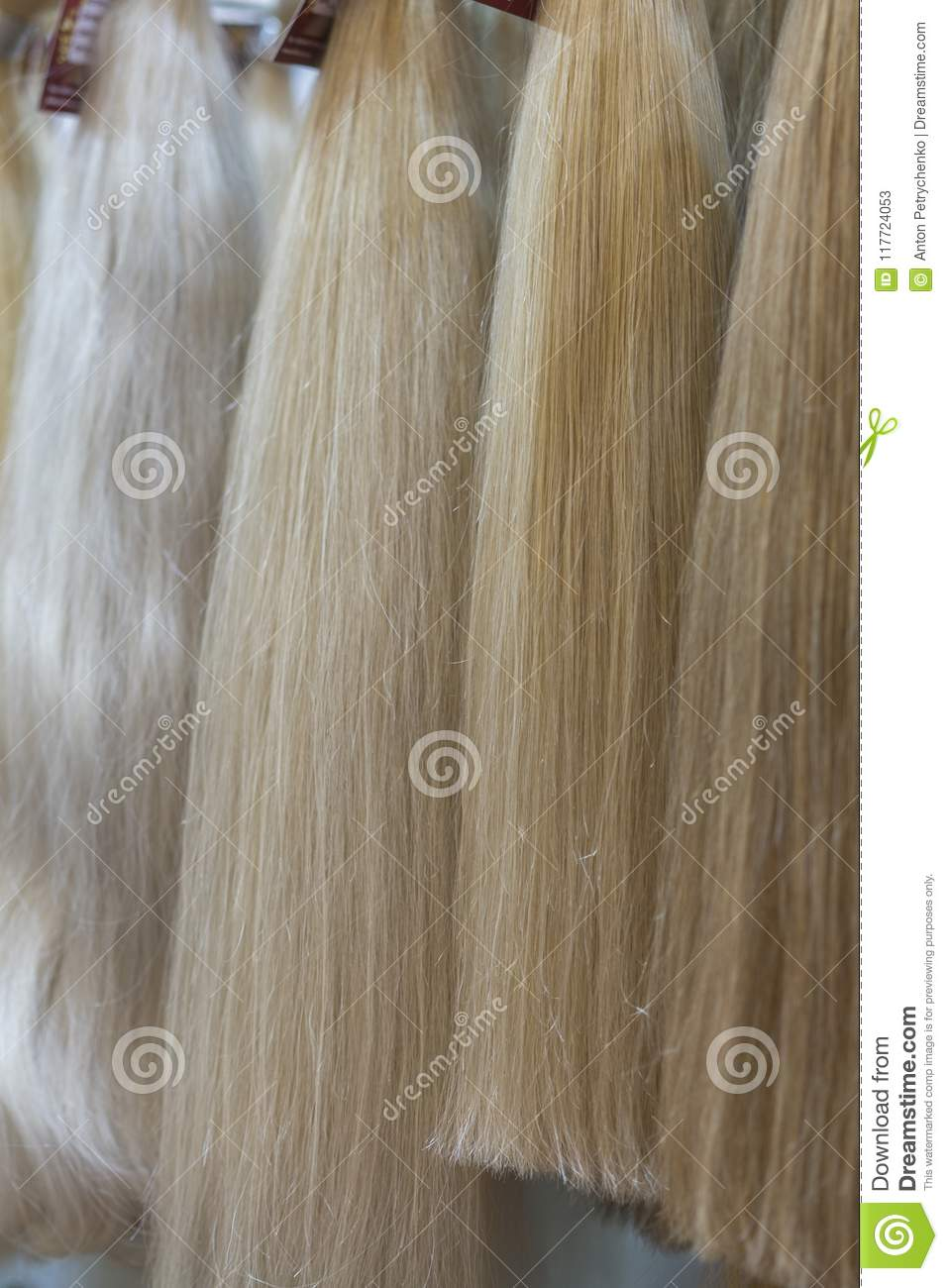 Close Up Brown White And Another Color Of Hair Wigs Display In