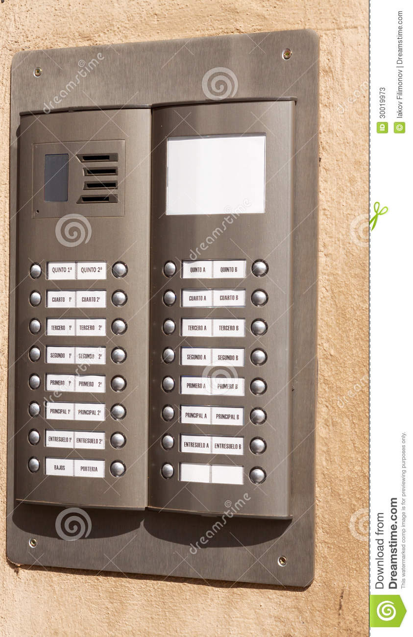 Building Intercom With Apartment Numbers Stock Photos