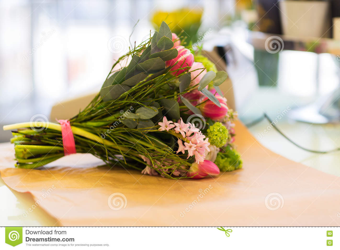 close up of bunch on paper at flower shop stock photo image 71624195. Black Bedroom Furniture Sets. Home Design Ideas