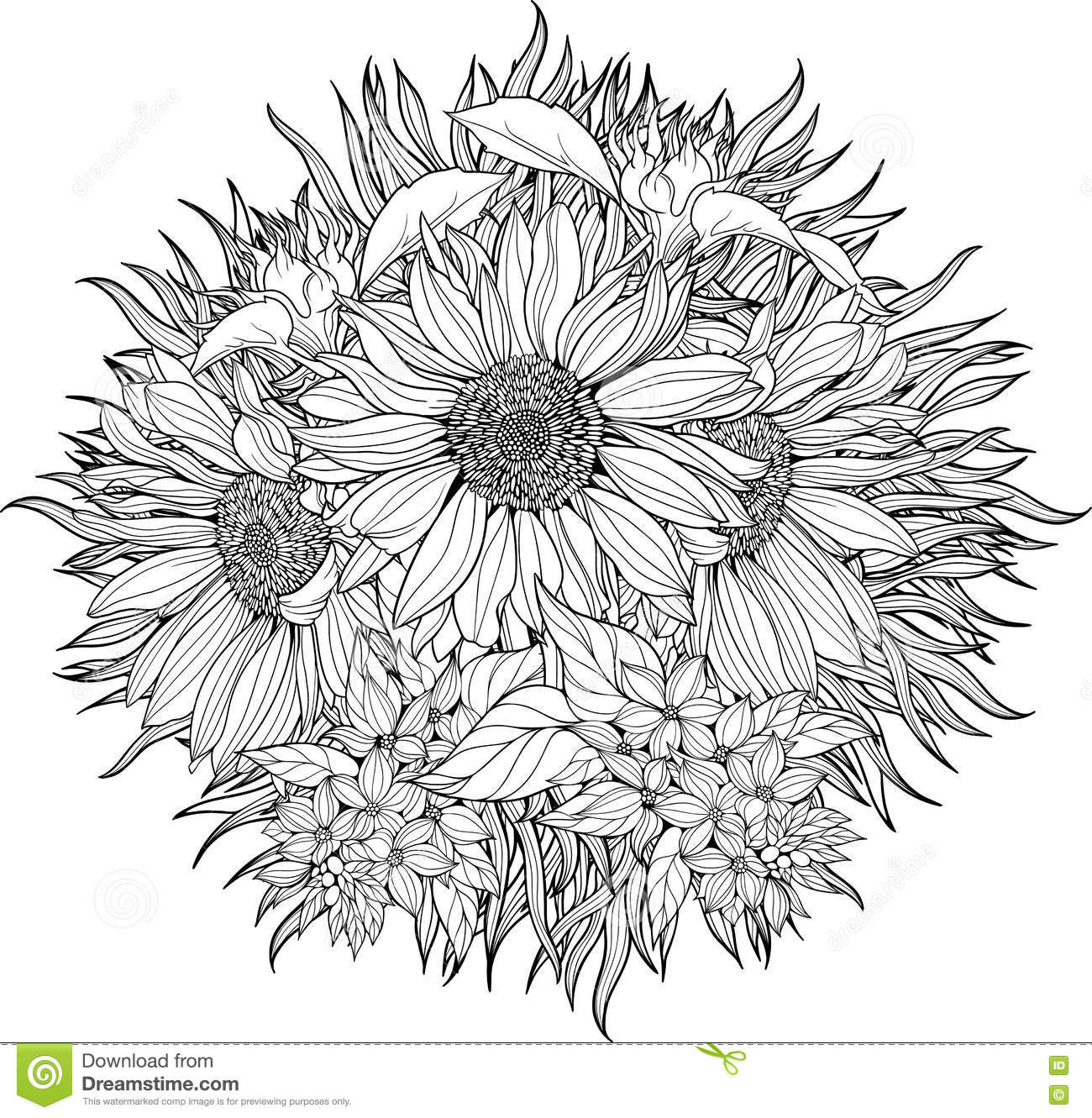 Close-up Bunch Of Sunflowers. Stock Vector - Illustration of ...