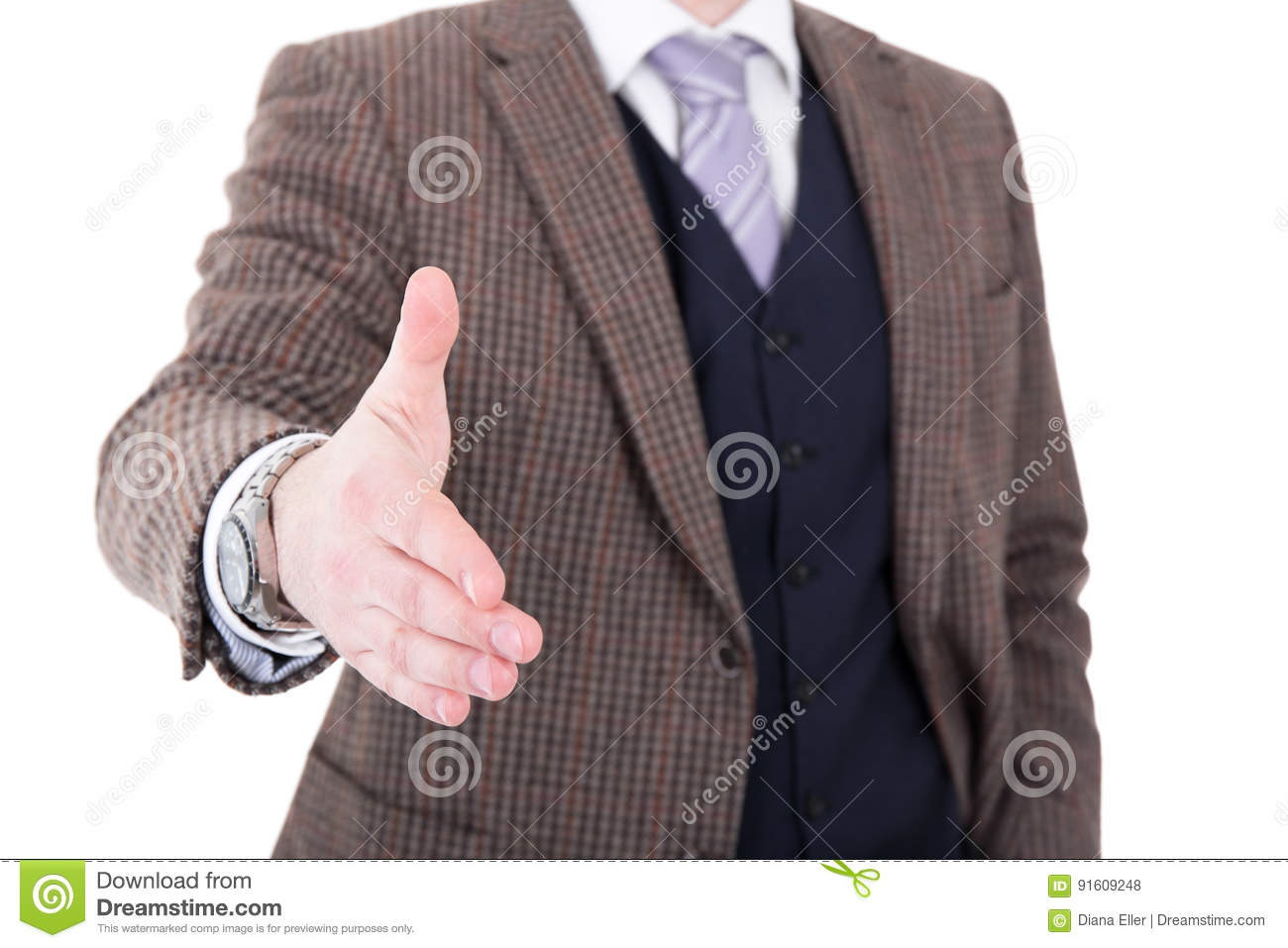 Download Close Up Of Businessman Giving Hand For Handshake Isolated On Wh Stock Photo - Image of person, gesture: 91609248