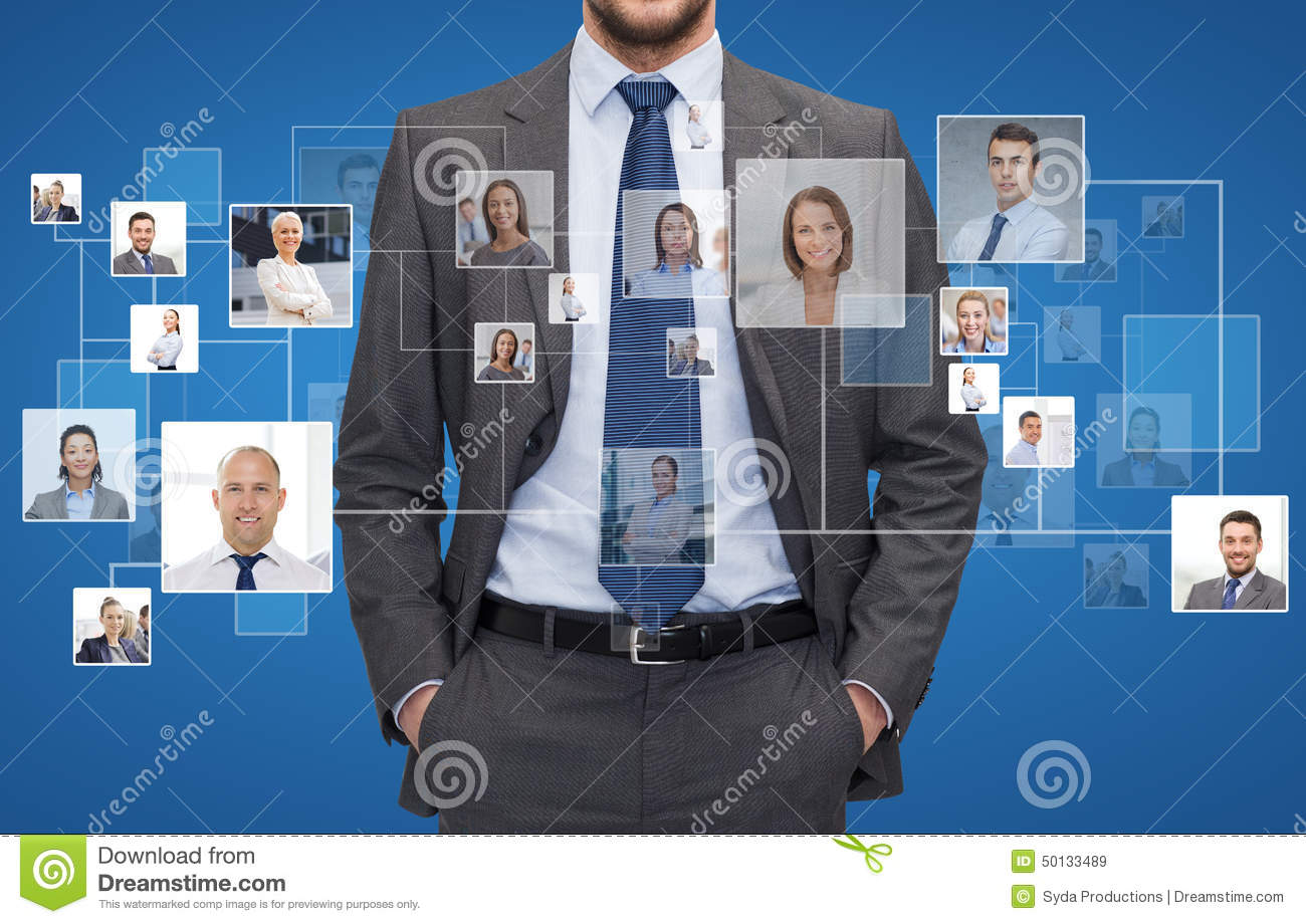 Close up of businessman over icons with contacts