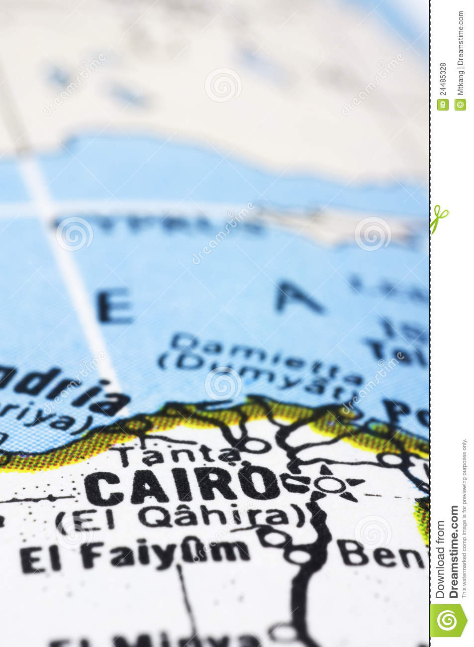 Close Up Of Cairo On Map, Egypt Stock Photo - Image of trip, travel ...