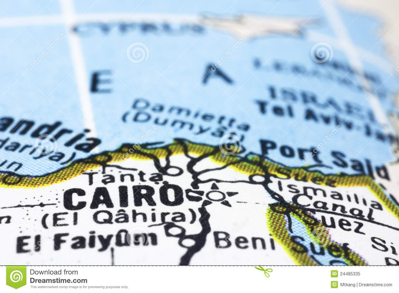 Close Up Of Cairo On Map, Egypt Stock Image - Image of travel, city ...