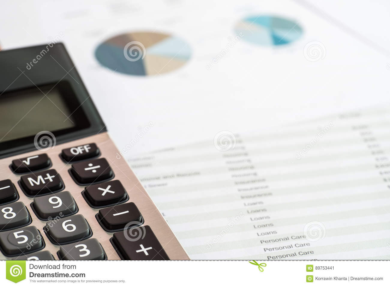 close up of calculator and documents of personal budget financial