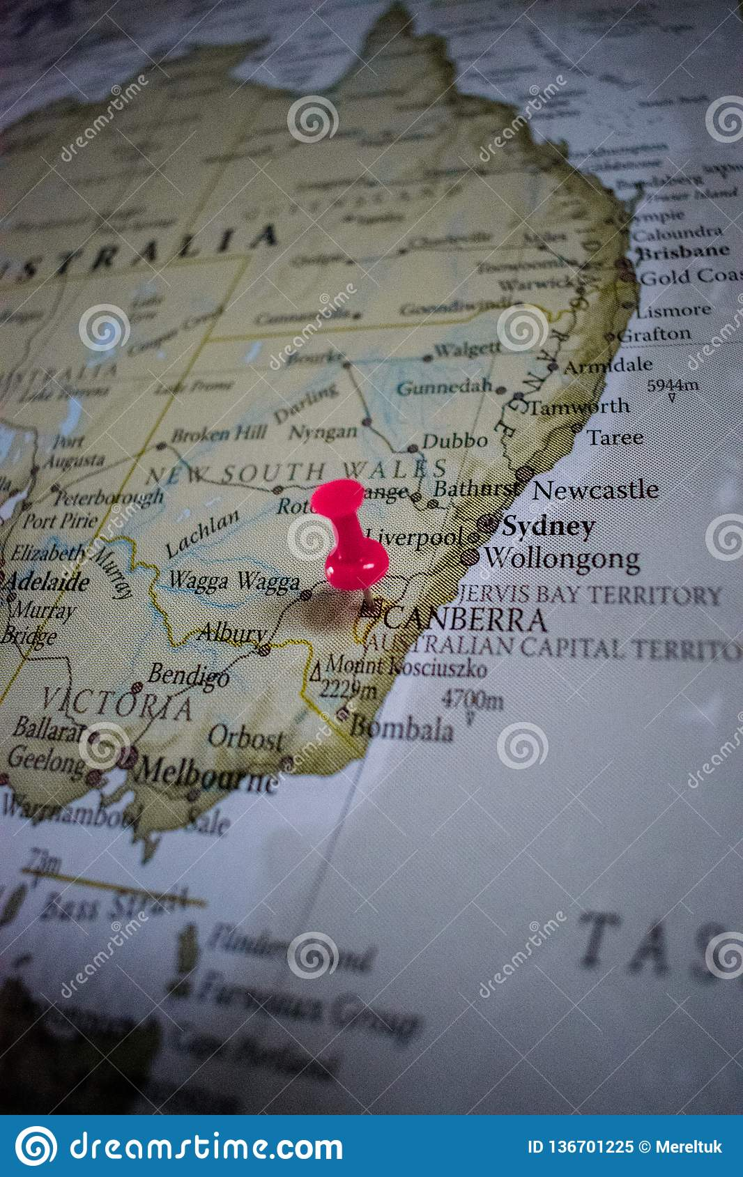 Close Up Of Canberra Pin Pointed On The World Map With A Pink