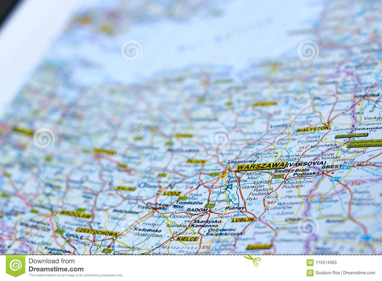 Capital Of Poland Map.Warszawa On The Map Stock Image Image Of Surroundings 115514563