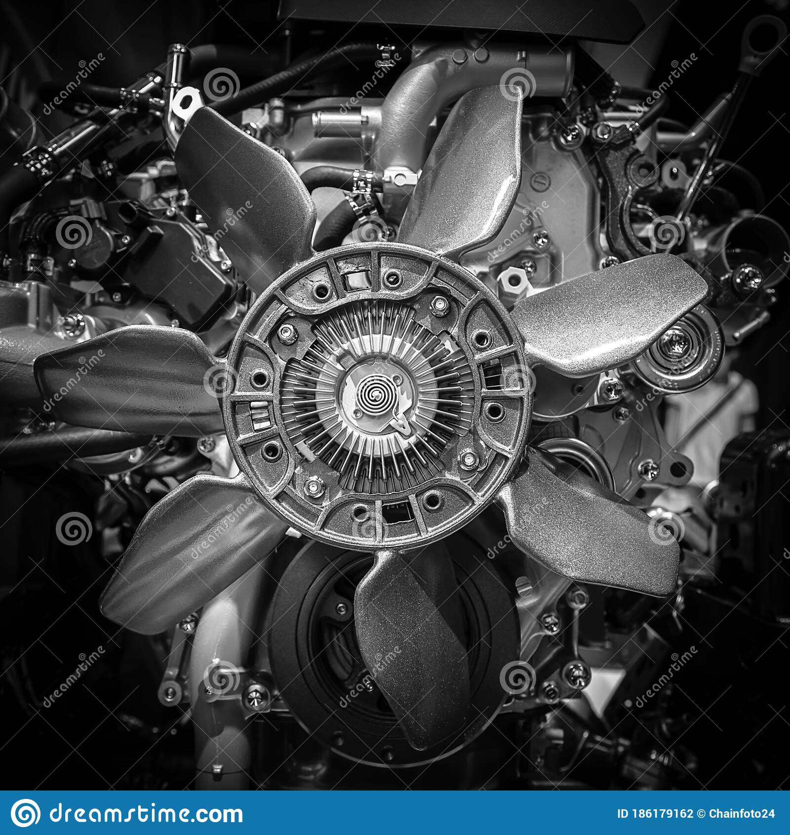 Close Up Of Car Engine Black And White Color Stock Photo Image Of Engineering Auto 186179162