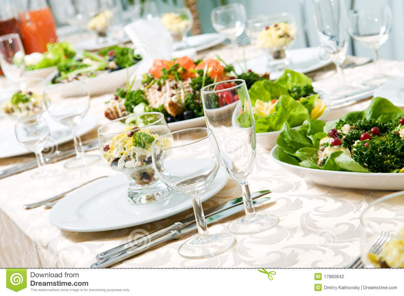 Close Up Catering Table Set Stock Photo Image 17880842