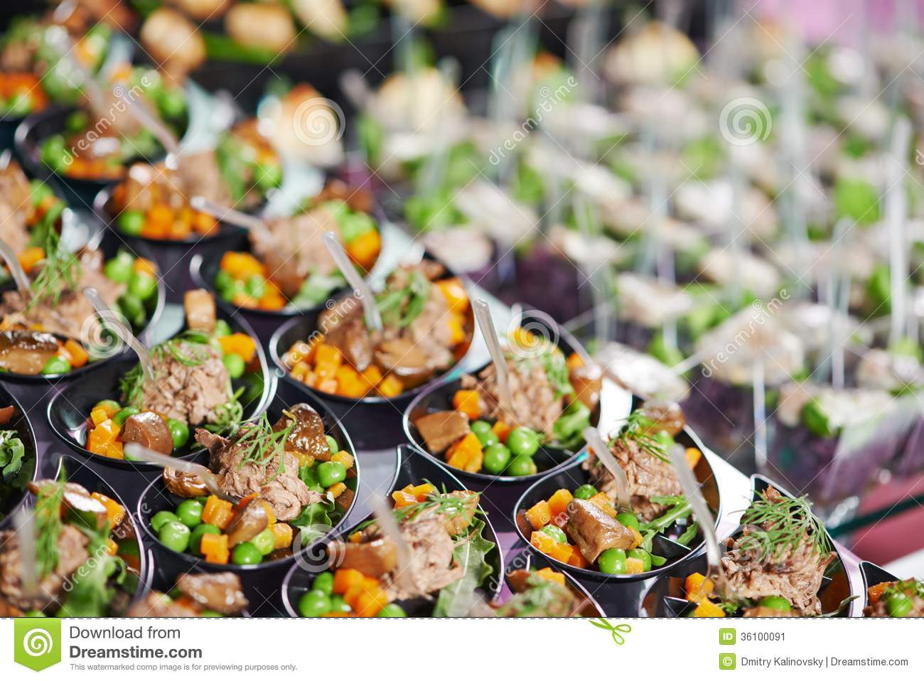 Close up catering table set stock image image 36100091 for Table snack cuisine