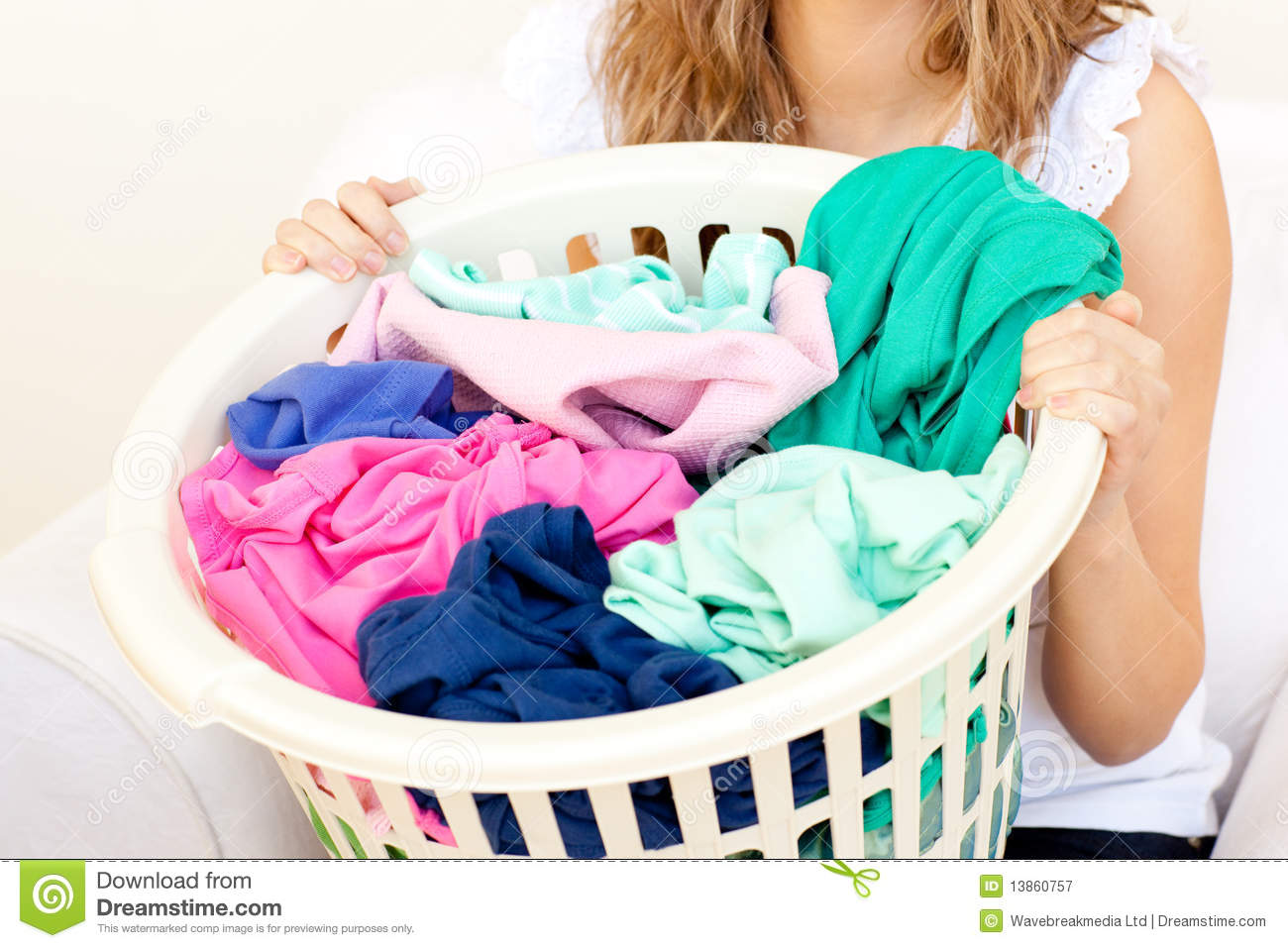 Close Up Of A Caucasian Woman Doing Laundry Stock Image