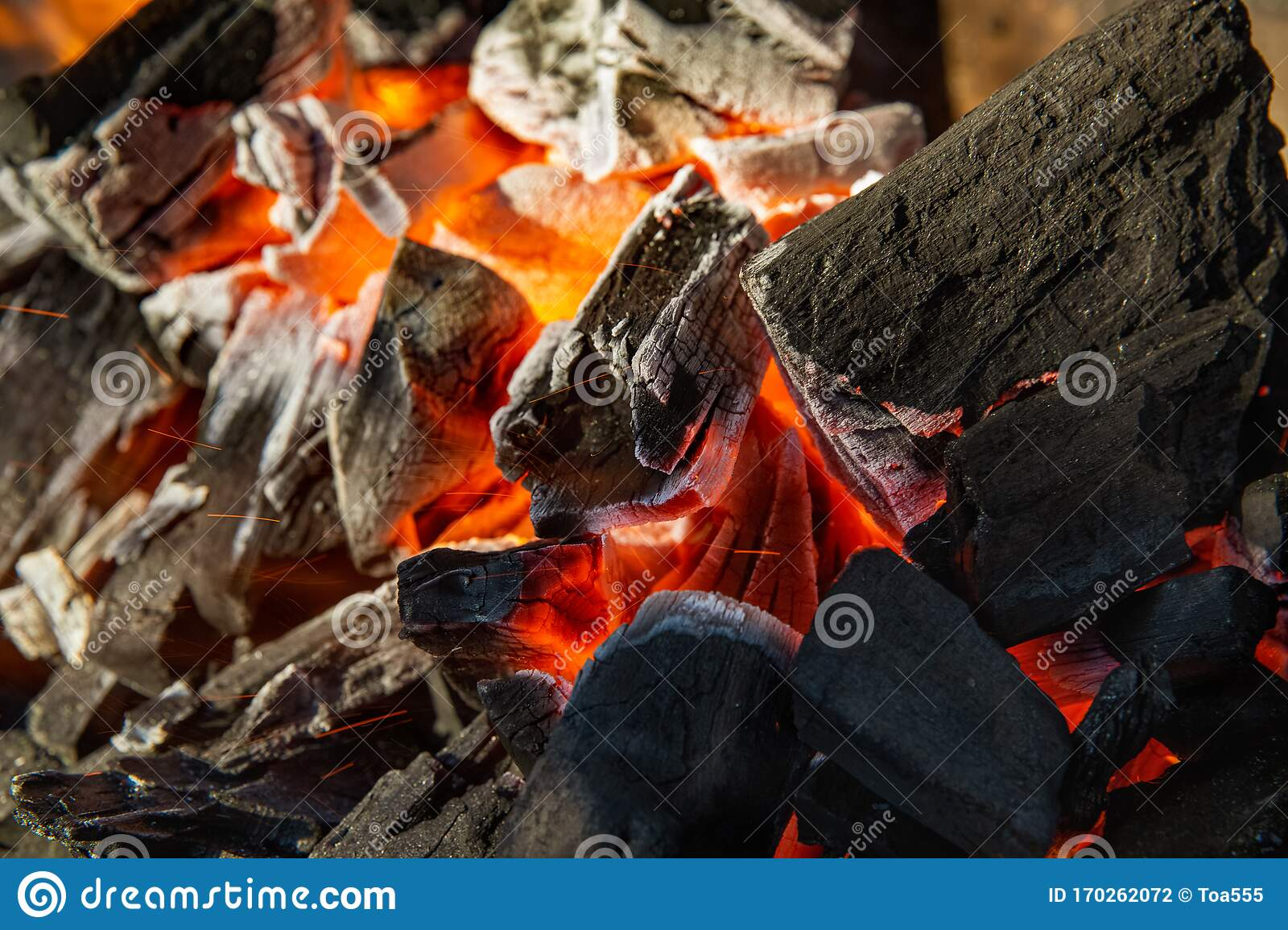 Charcoal Is Starting To Burn In The Kitchen Grill Hot Charcoal And Flame With Smoke Stock Photo Image Of Smoke Vintage 170262072