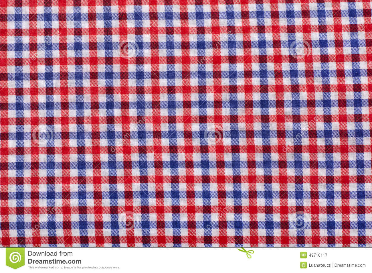 Close Up On Checkered Tablecloth Fabric.