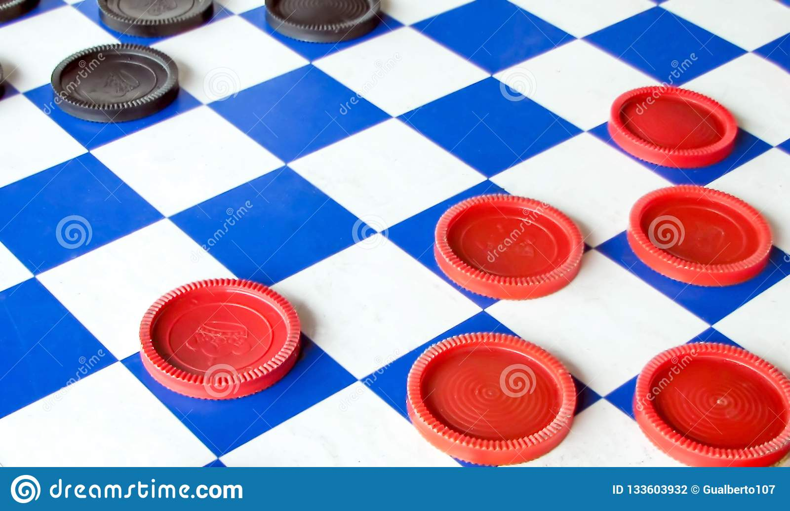 Close up of a checkers board