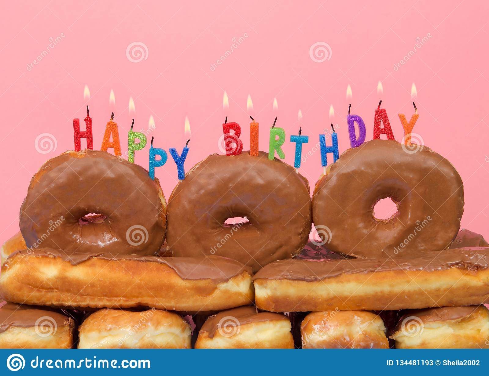 Enjoyable Close Up On Donut Cake With Happy Birthday Candles Burning Stock Personalised Birthday Cards Rectzonderlifede