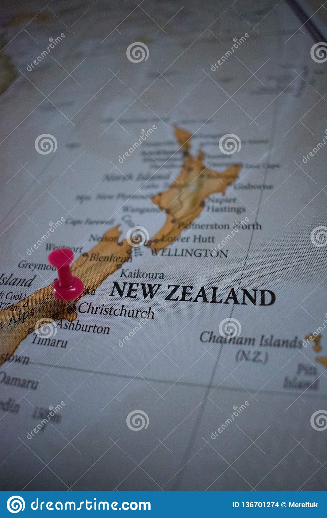 Christchurch World Map.Close Up Of Christchurch Pin Pointed On The World Map With A Pink