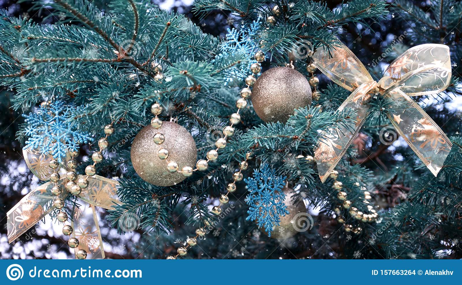 Close Up Of A Christmas Tree With Rose Gold And Turquoise Decorations Balls Snowflakes Bows Beads On A Blurry Background Stock Photo Image Of Gold Ball 157663264