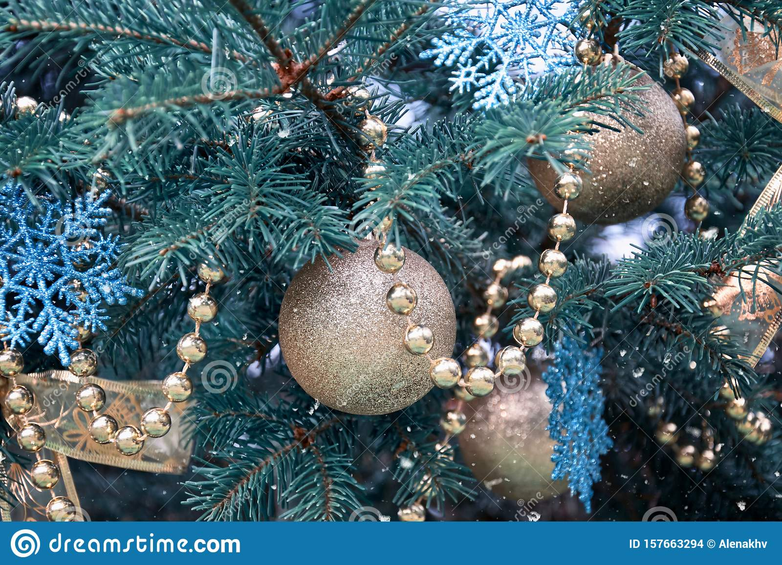 Close Up Of A Christmas Tree With Rose Gold And Turquoise Decorations Balls Snowflakes Bows Beads On A Blurry Background Stock Photo Image Of Color Decor 157663294