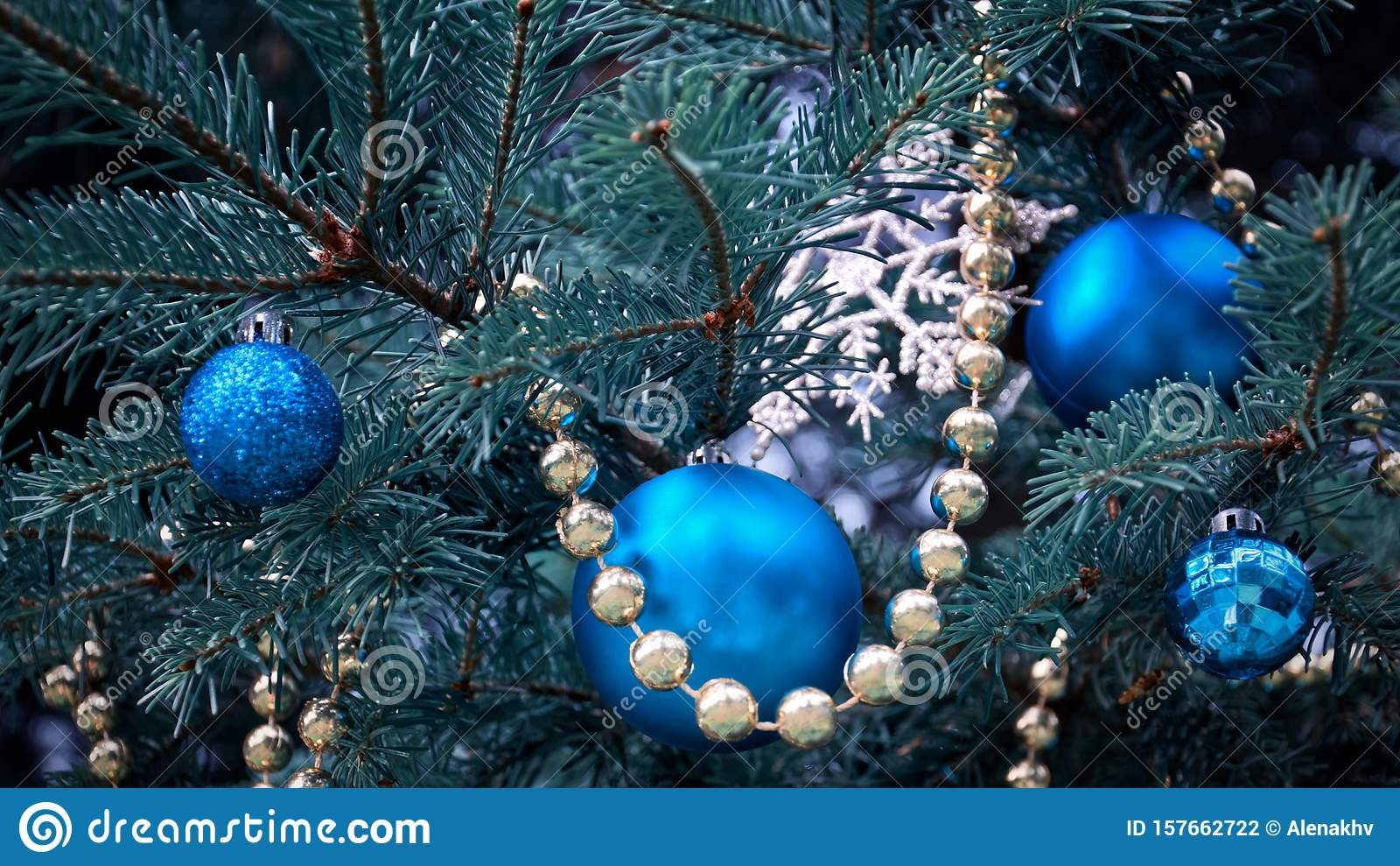 Close Up Of A Christmas Tree With Rose Gold And Turquoise Decorations Balls Snowflakes Bows Beads On A Blurry Background Stock Photo Image Of Bows Blurry 157662722
