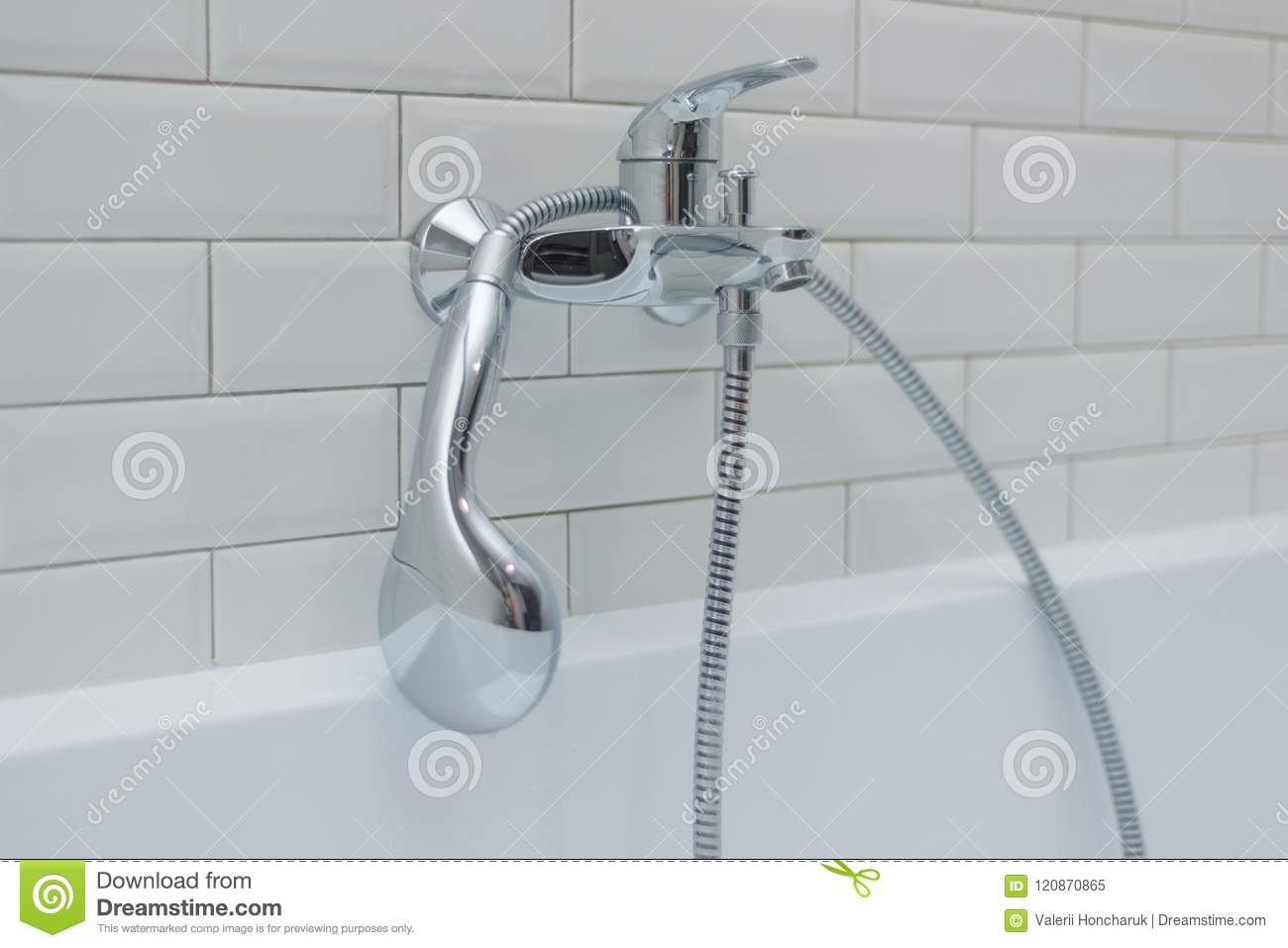 Close-up Of Chrome Shower, Faucet, In The Bathroom Covered ...