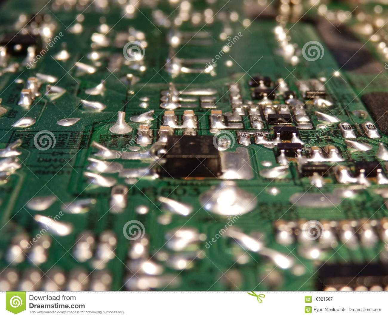 Circuit Board Stock Image Of Grid Green 103215871 Closeup Electronic Royalty Free Photography Photo