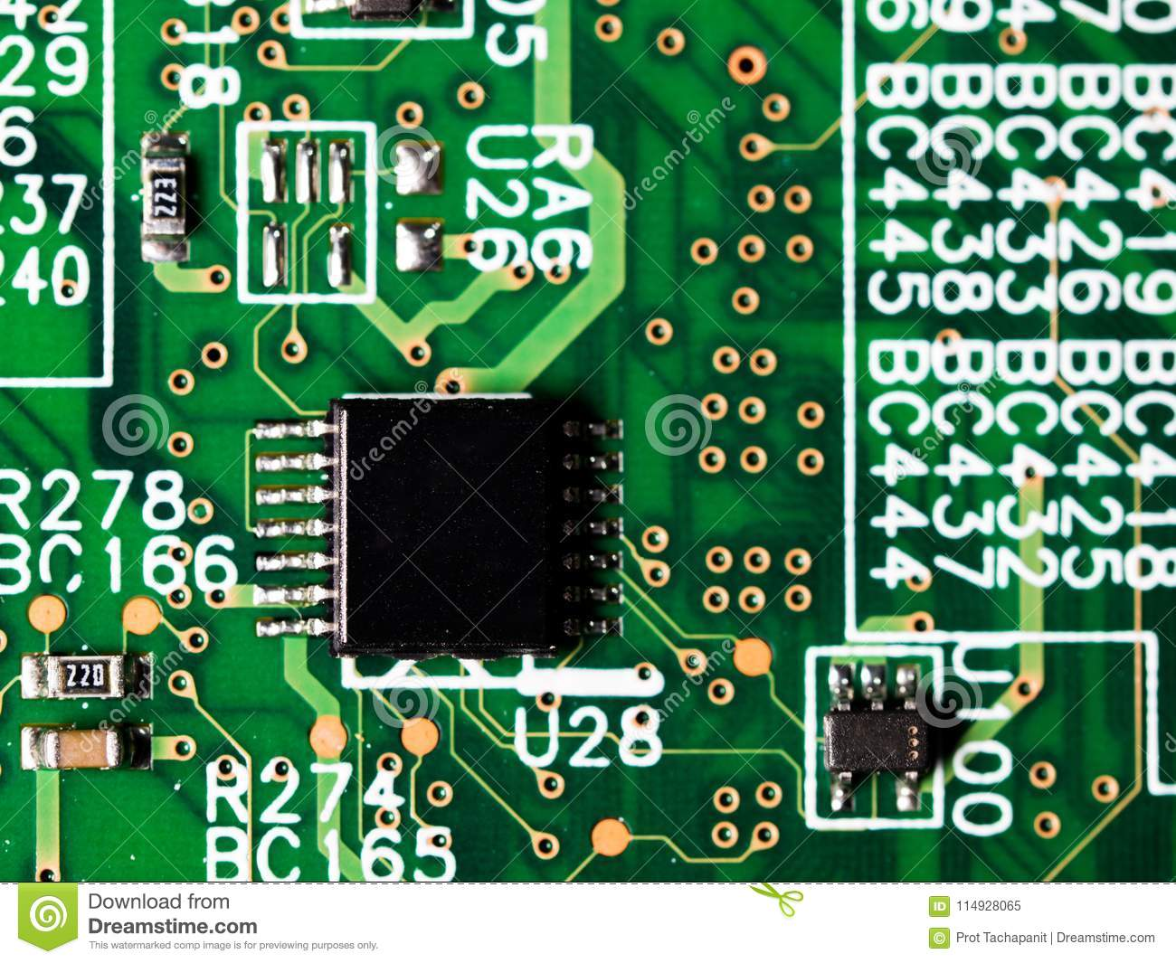 Where To Buy Integrated Circuits Close Up Of Circuit Board With Resistors And Capacitors