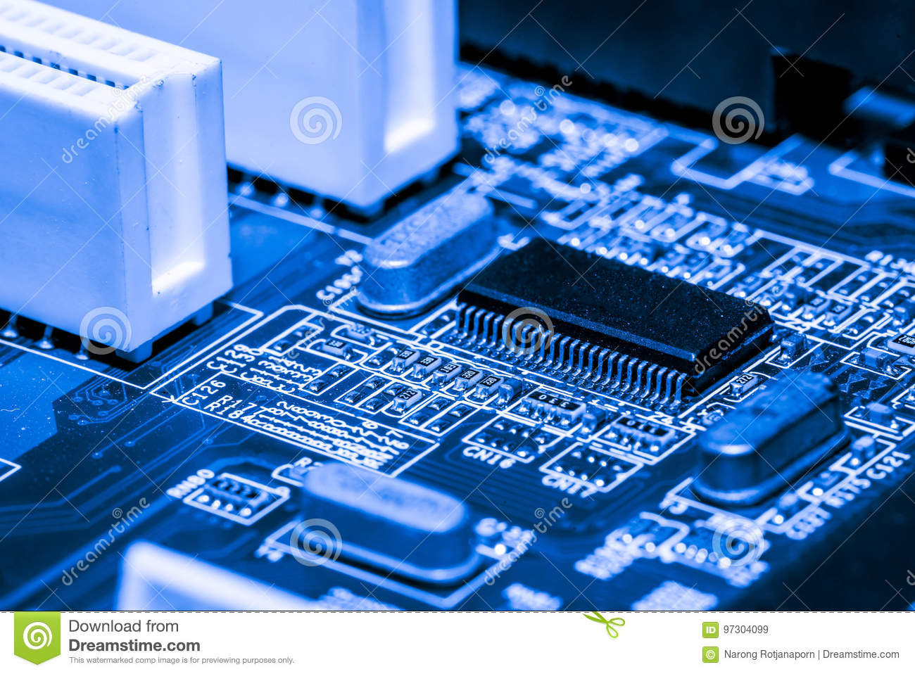 Close up of Circuits Electronic on Mainboard Technology computer background logic board,cpu motherboard,Main board,sys