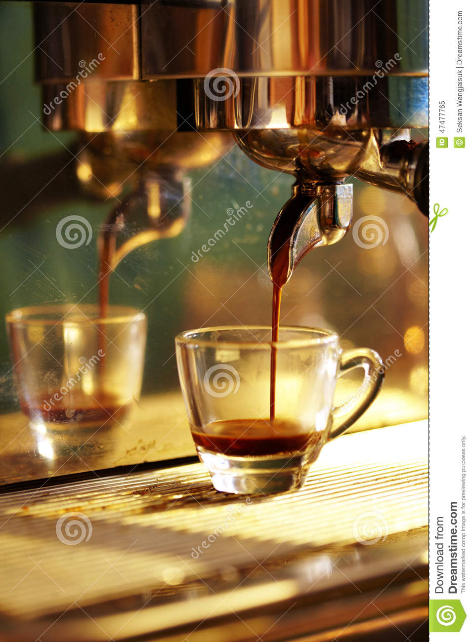 close up of espresso machine making coffee royalty free stock image 65421040. Black Bedroom Furniture Sets. Home Design Ideas